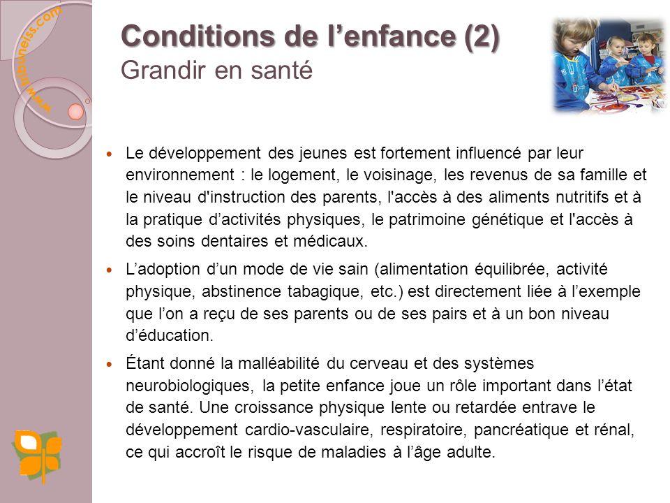 Conditions de l'enfance (2) Grandir en santé