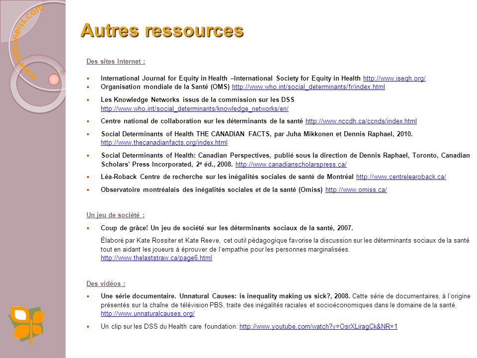 Autres ressources Des sites Internet :