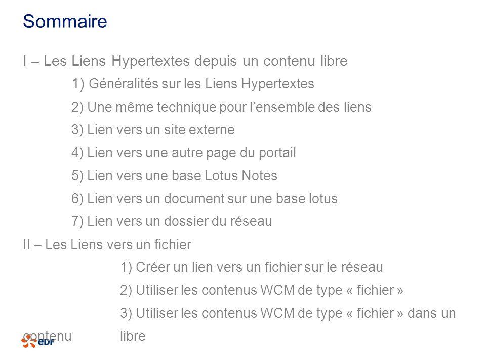 Sommaire I – Les Liens Hypertextes depuis un contenu libre