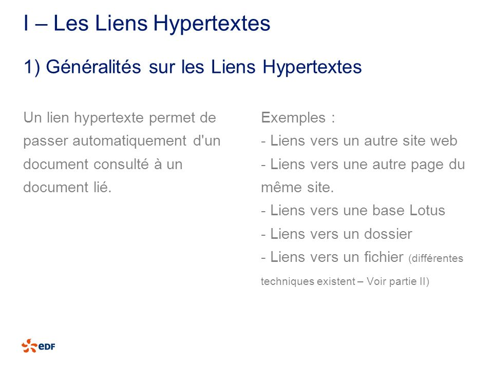 I – Les Liens Hypertextes