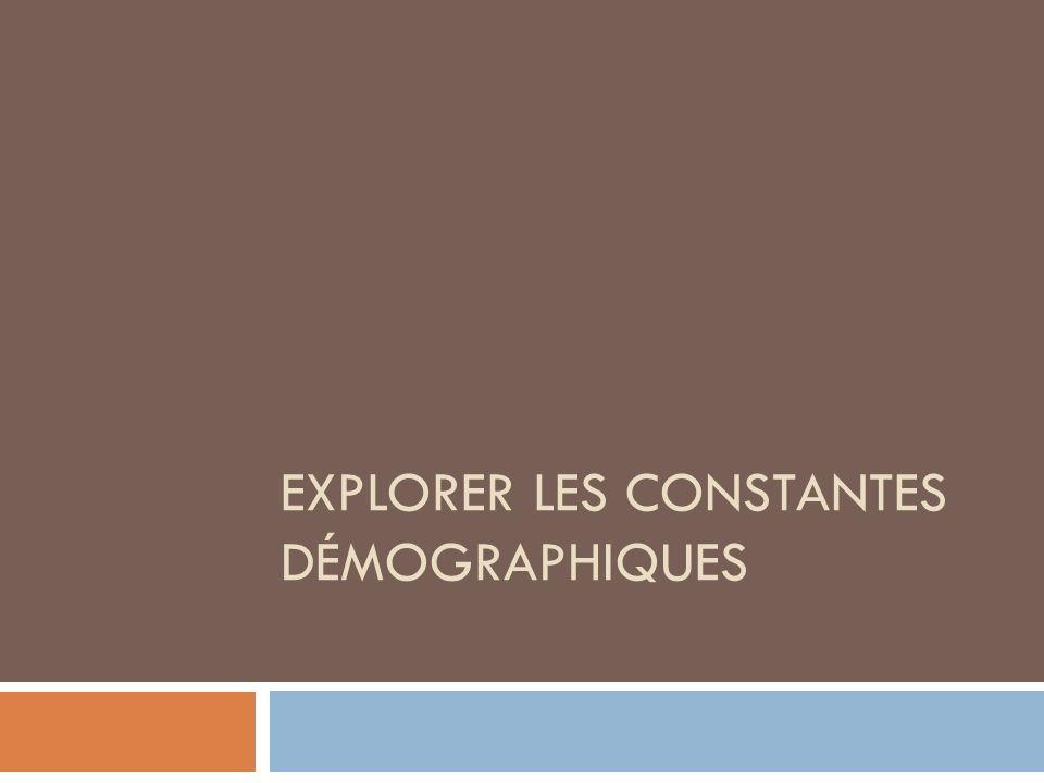 EXPLORER LES CONSTANTES DÉMOGRAPHIQUES