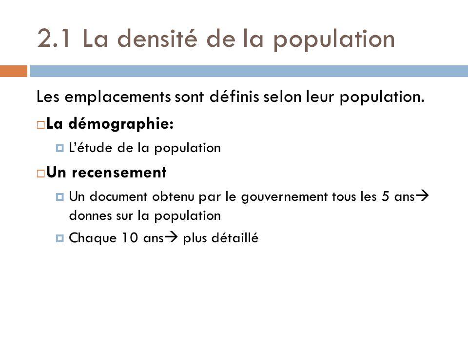 2.1 La densité de la population