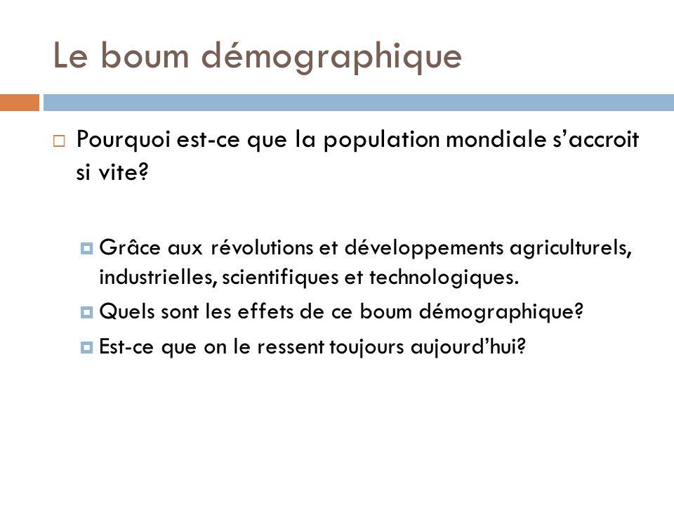 Le boum démographique Pourquoi est-ce que la population mondiale s'accroit si vite