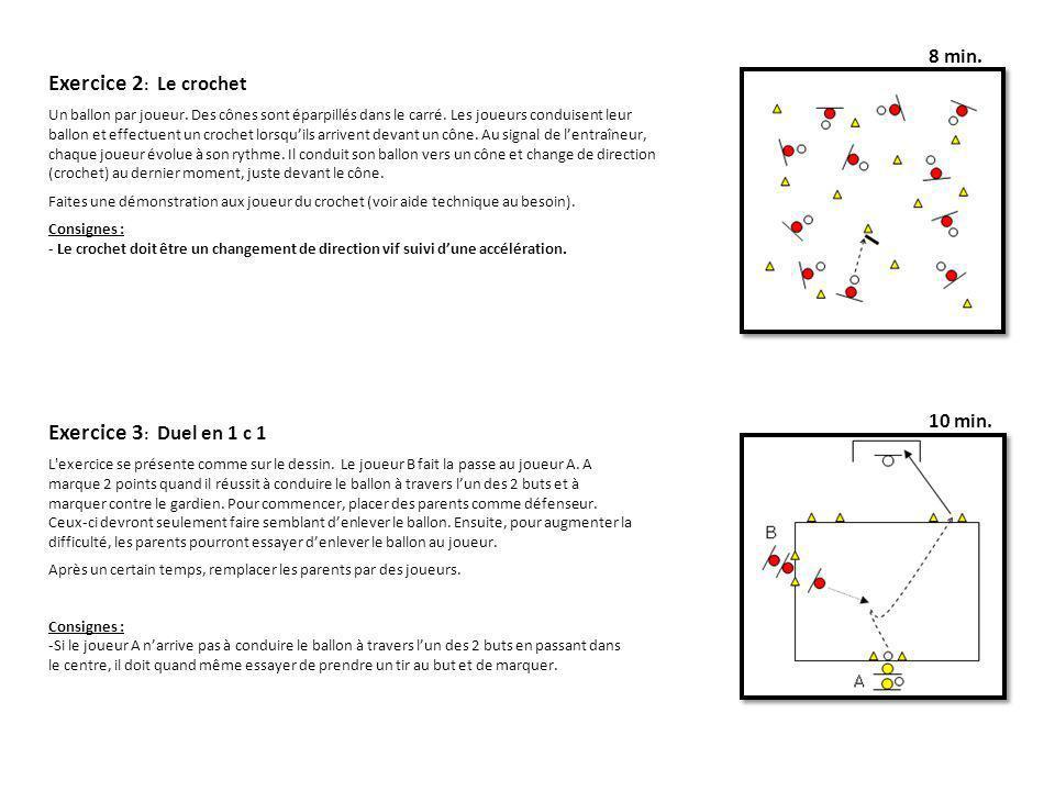 Exercice 2: Le crochet Exercice 3: Duel en 1 c 1 8 min. 10 min.