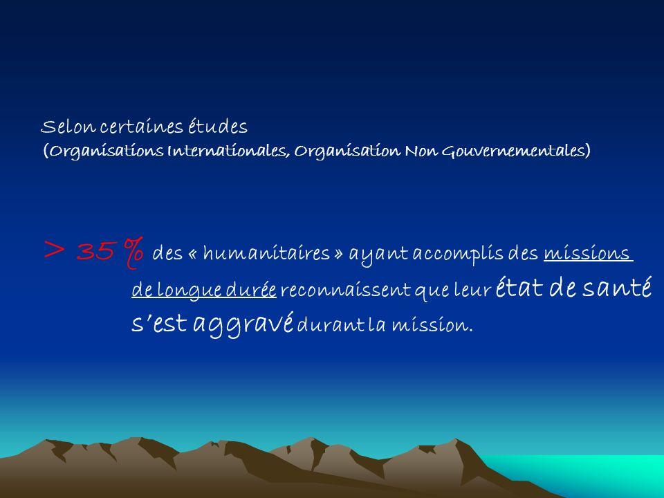 > 35 % des « humanitaires » ayant accomplis des missions