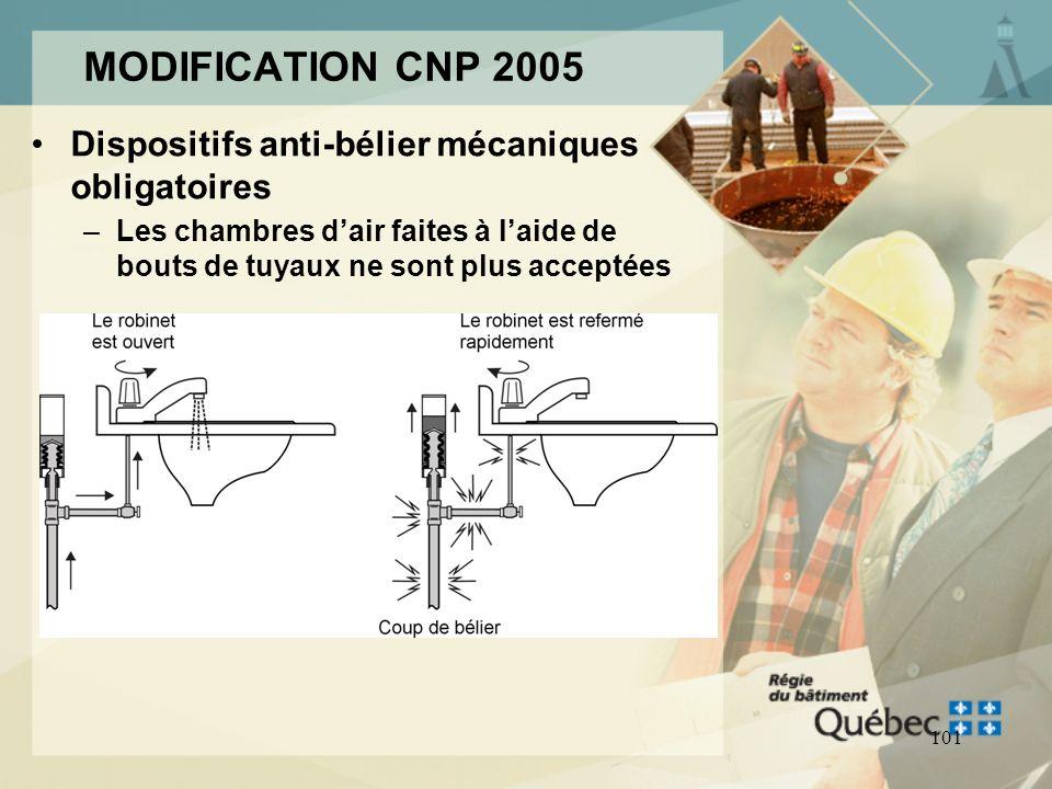 MODIFICATION CNP 2005 Dispositifs anti-bélier mécaniques obligatoires