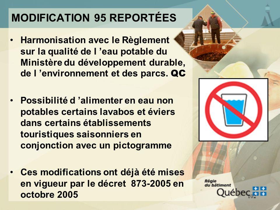 MODIFICATION 95 REPORTÉES