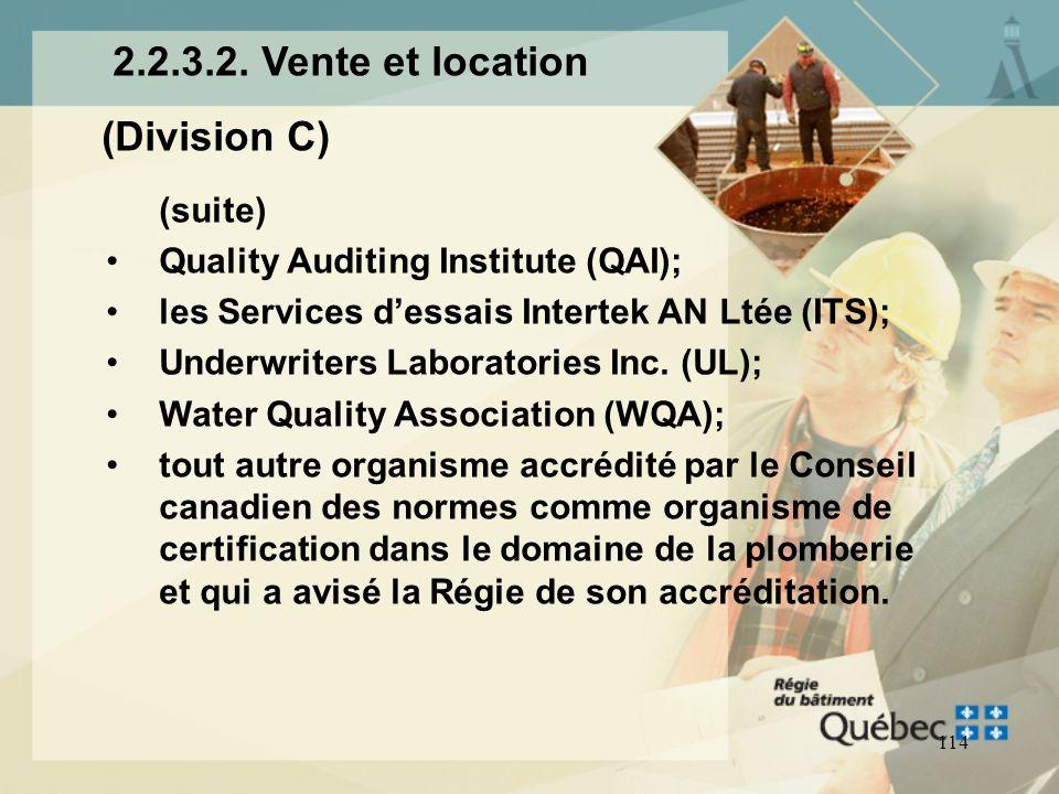 2.2.3.2. Vente et location (Division C) (suite)