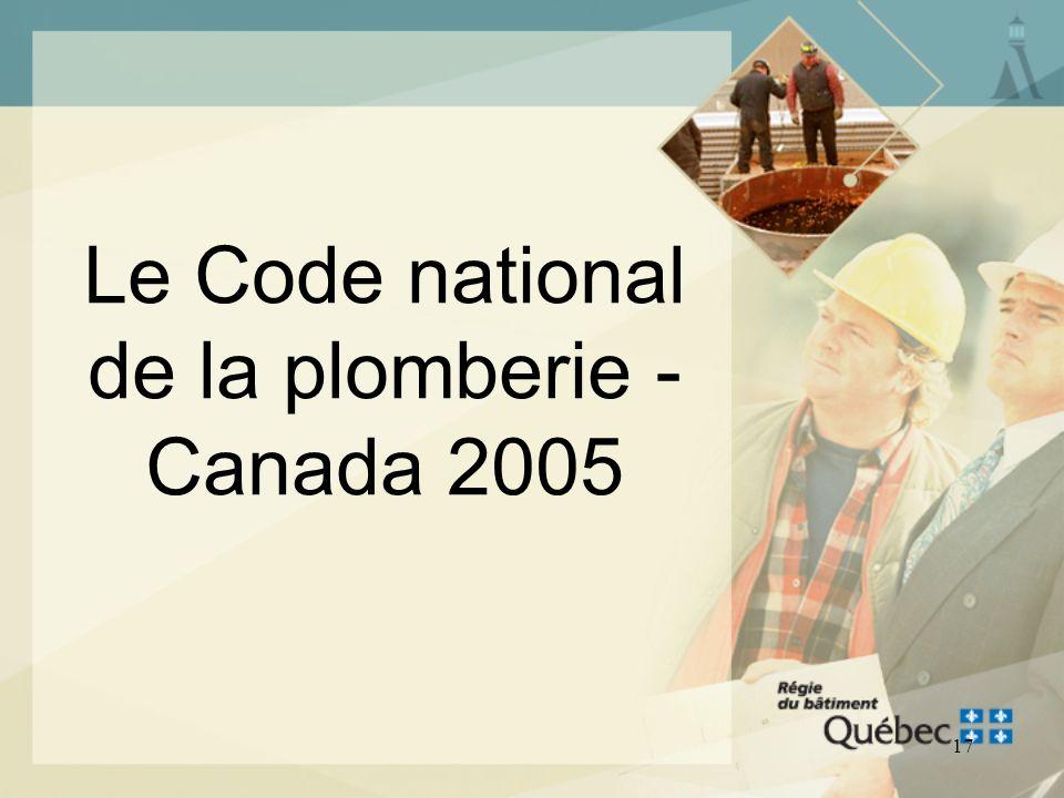 Le Code national de la plomberie - Canada 2005