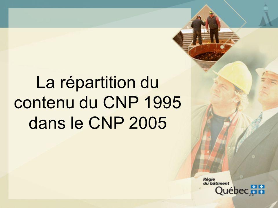 La répartition du contenu du CNP 1995 dans le CNP 2005