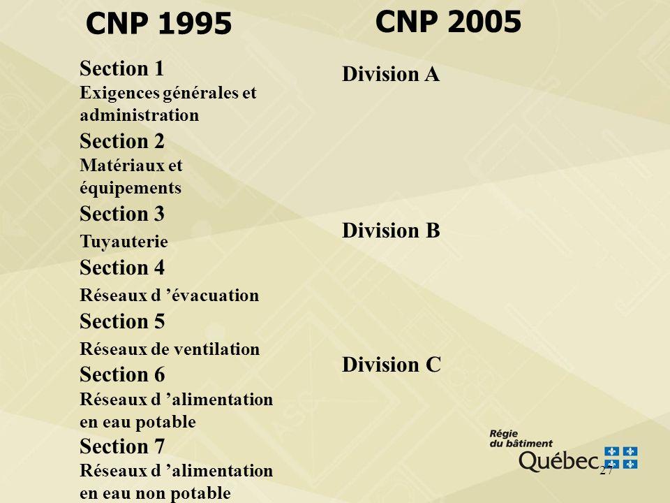 CNP 1995 CNP 2005 Section 1 Exigences générales et administration