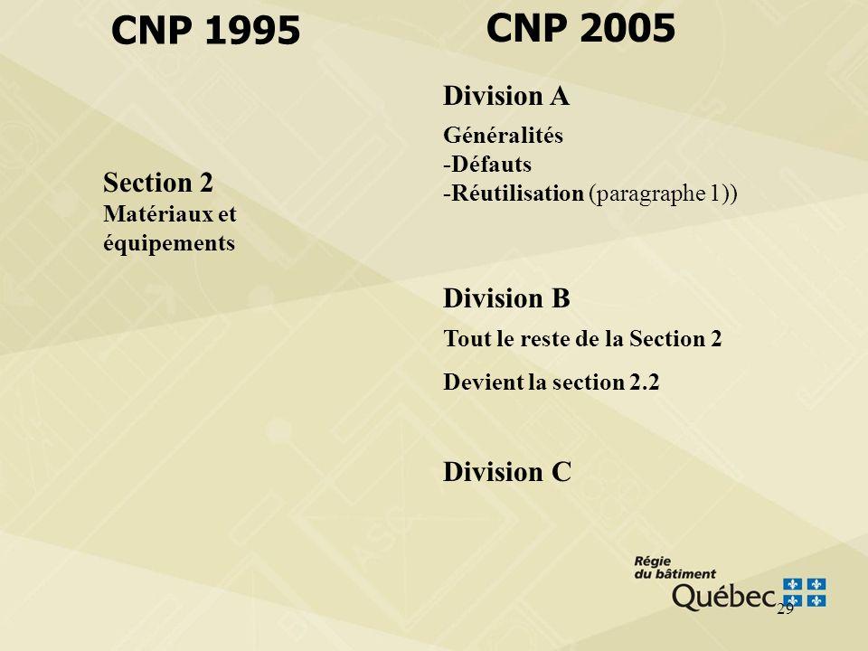 CNP 1995 CNP 2005 Division A Section 2 Matériaux et équipements