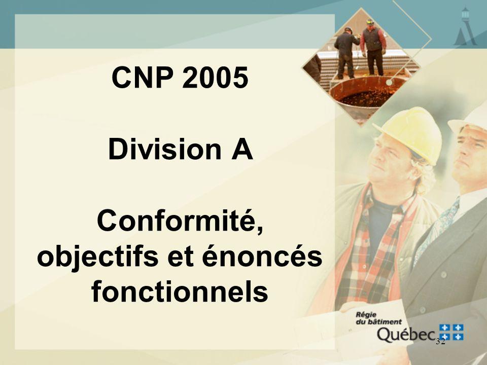 CNP 2005 Division A Conformité, objectifs et énoncés fonctionnels