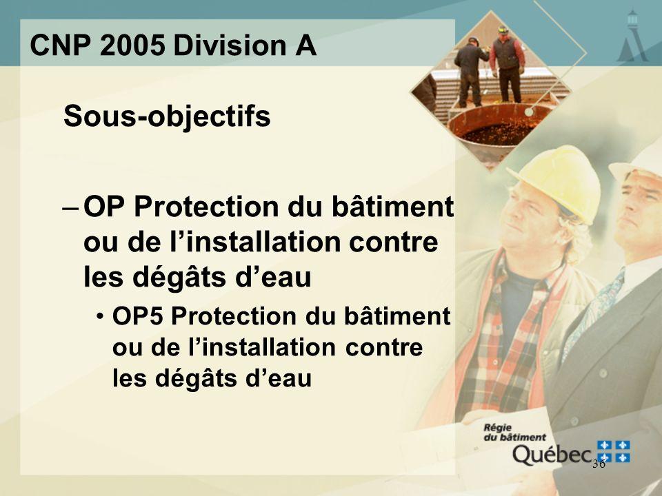 Sous-objectifs CNP 2005 Division A