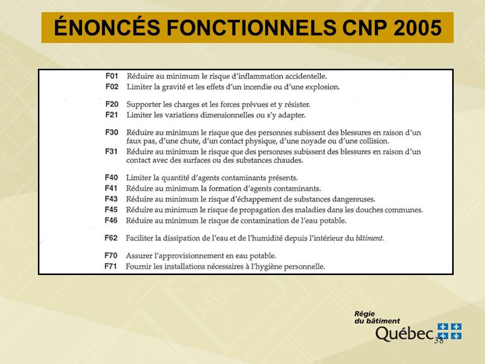 ÉNONCÉS FONCTIONNELS CNP 2005