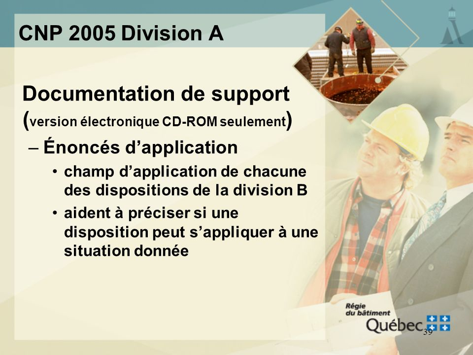 Documentation de support (version électronique CD-ROM seulement)
