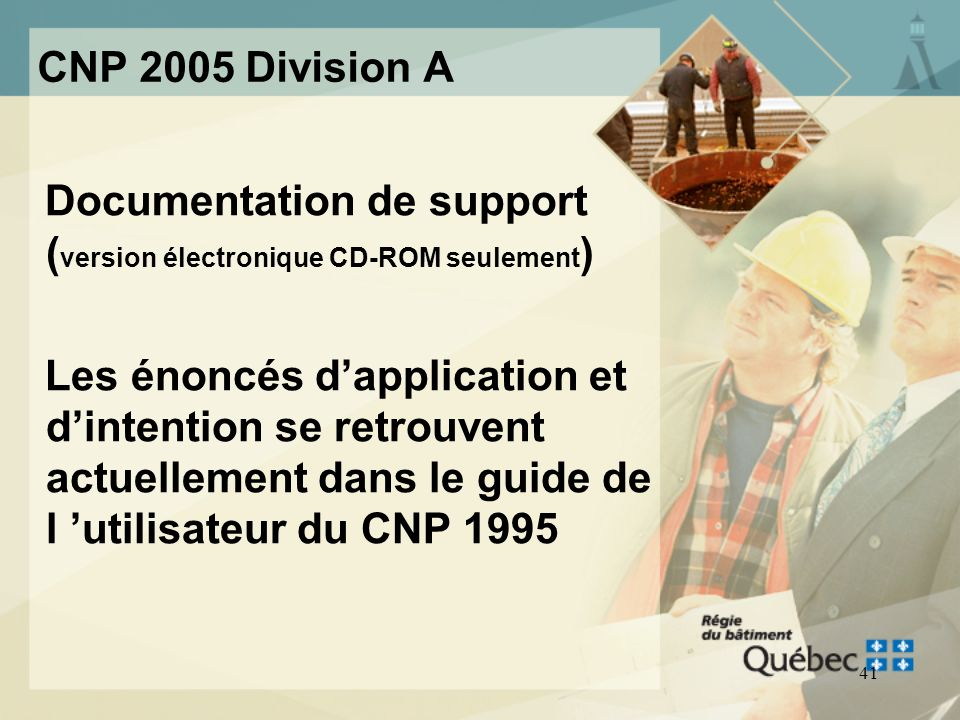 CNP 2005 Division A Documentation de support (version électronique CD-ROM seulement)