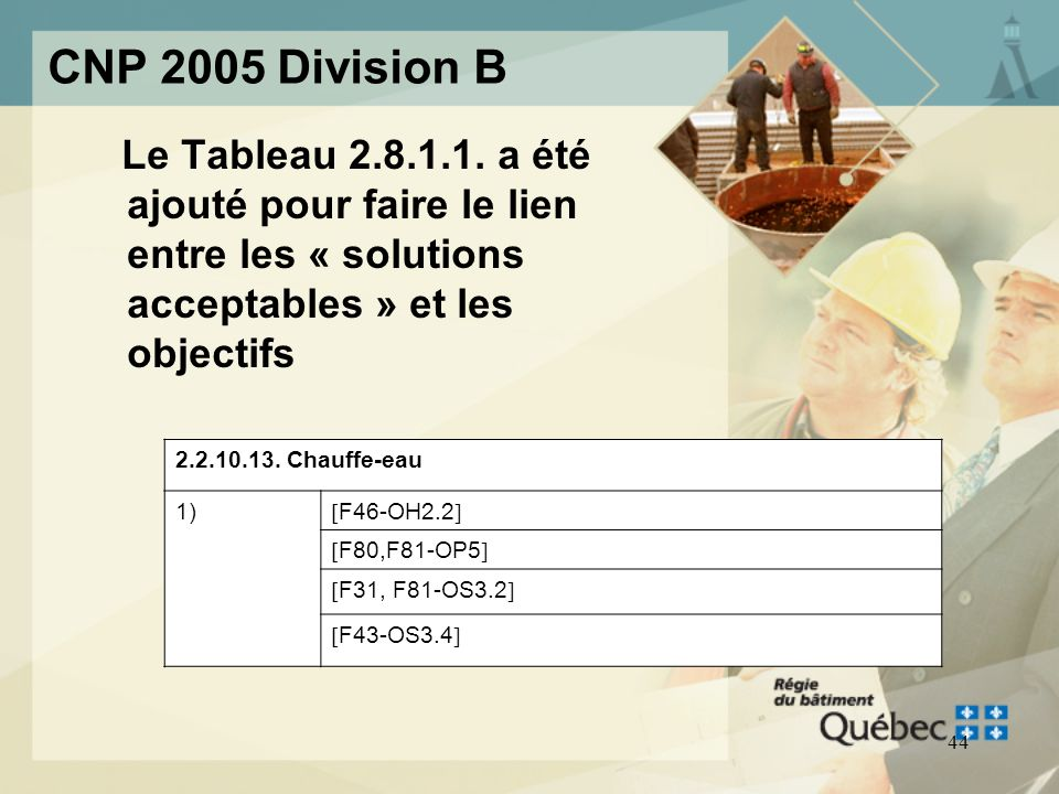 CNP 2005 Division B Le Tableau 2.8.1.1. a été ajouté pour faire le lien entre les « solutions acceptables » et les objectifs.