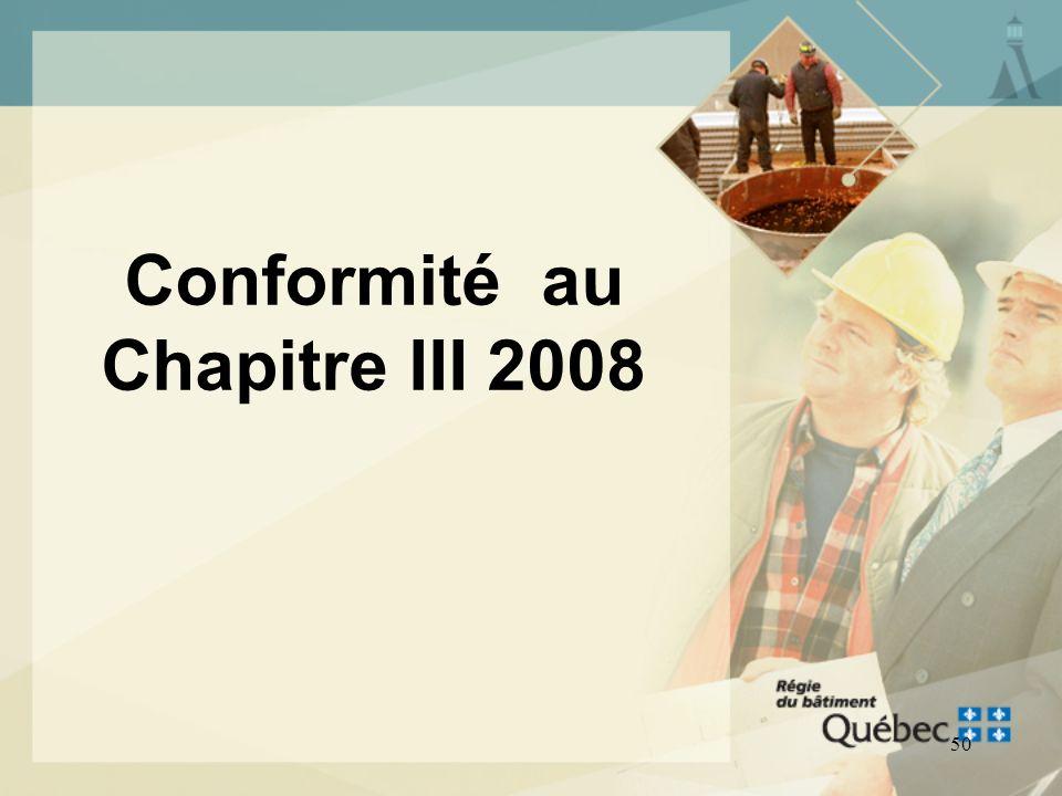 Conformité au Chapitre III 2008