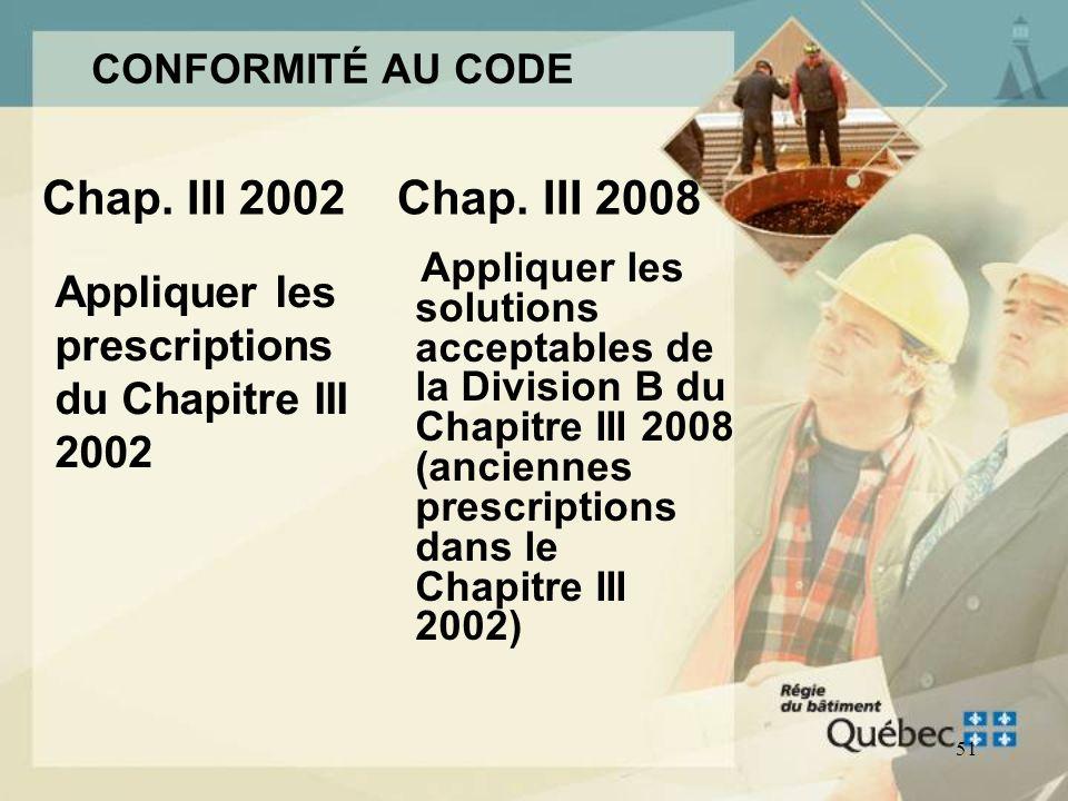 Appliquer les prescriptions du Chapitre III 2002