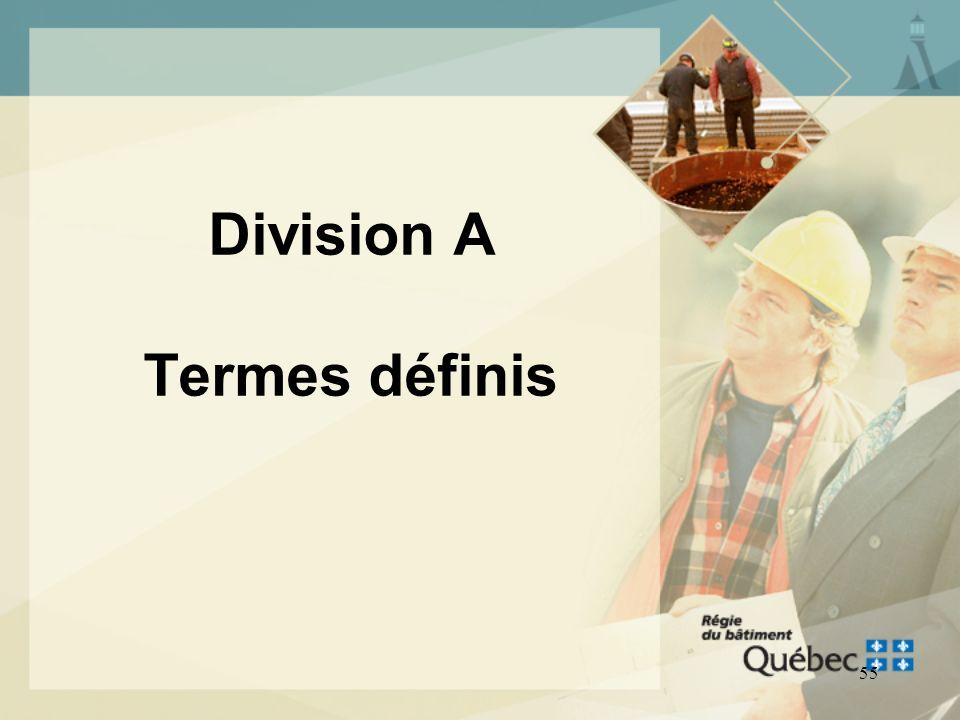 Division A Termes définis
