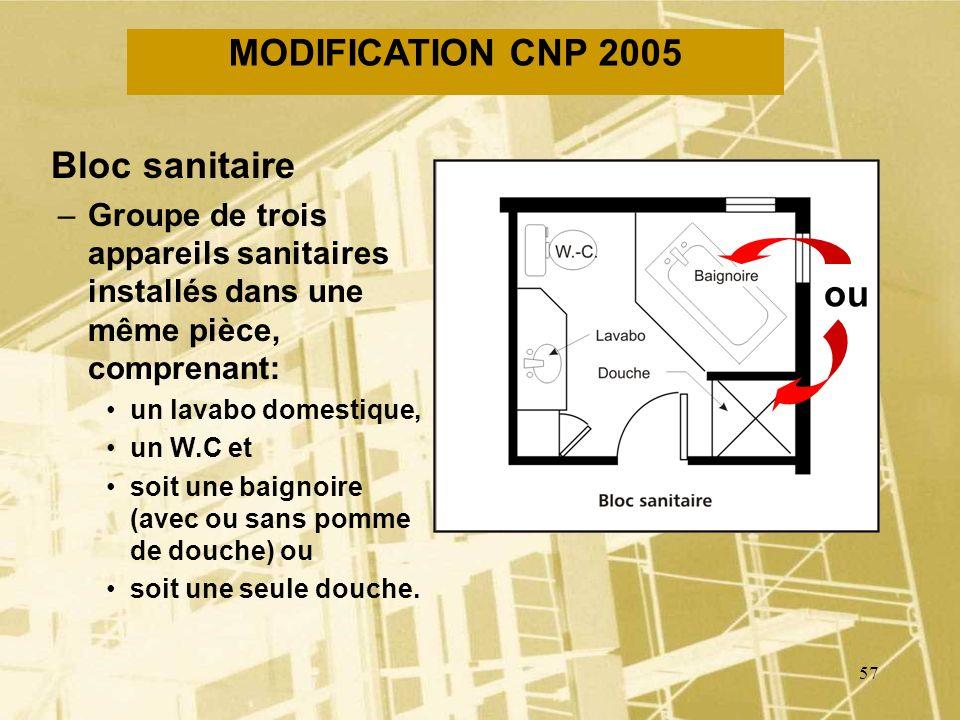 MODIFICATION CNP 2005 Bloc sanitaire ou