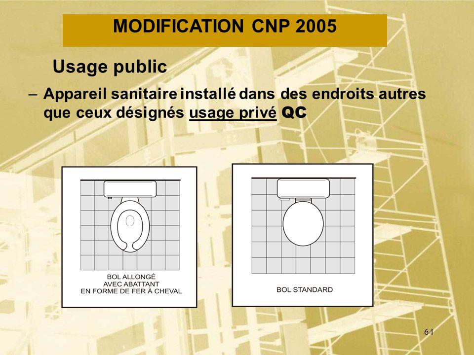 MODIFICATION CNP 2005 Usage public