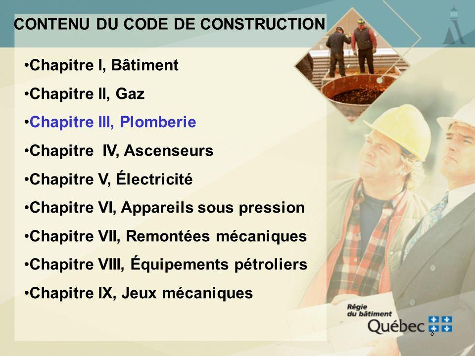 CONTENU DU CODE DE CONSTRUCTION