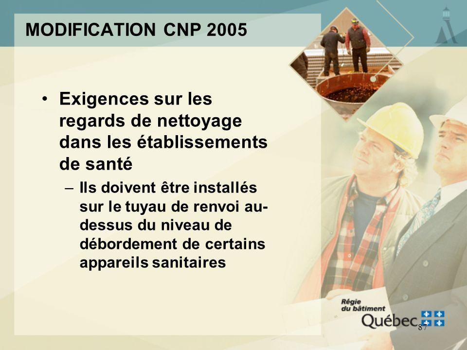 MODIFICATION CNP 2005 Exigences sur les regards de nettoyage dans les établissements de santé.