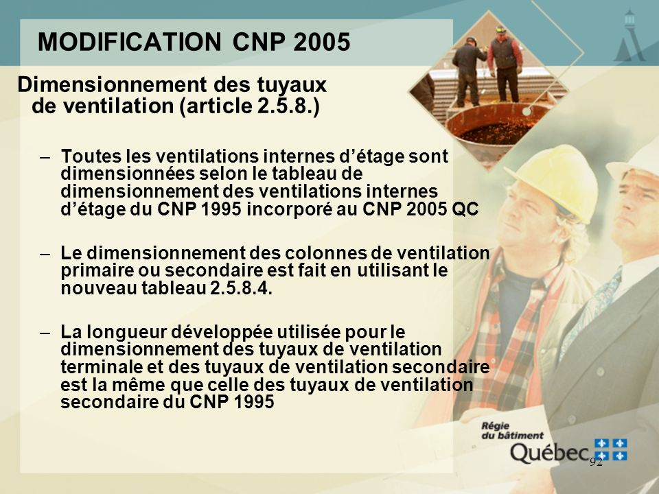 MODIFICATION CNP 2005 Dimensionnement des tuyaux de ventilation (article )