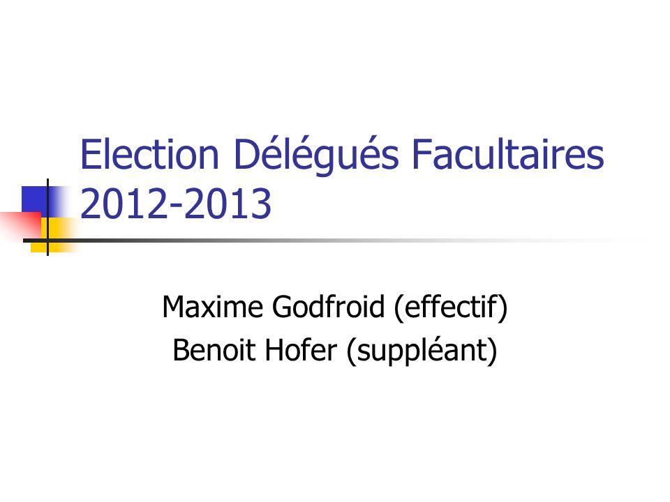 Election Délégués Facultaires 2012-2013