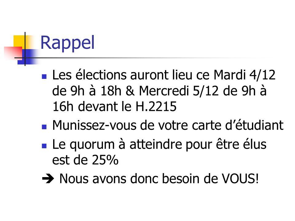 RappelLes élections auront lieu ce Mardi 4/12 de 9h à 18h & Mercredi 5/12 de 9h à 16h devant le H.2215.