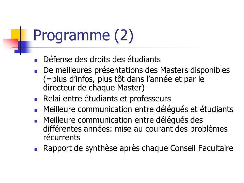 Programme (2) Défense des droits des étudiants