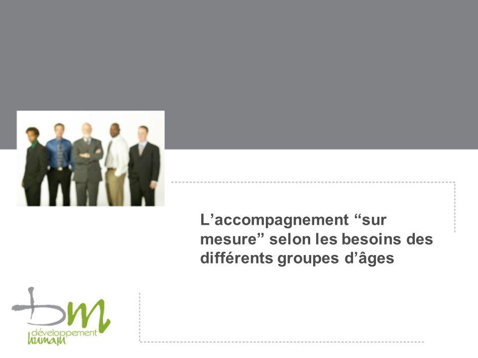 L'accompagnement sur mesure selon les besoins des différents groupes d'âges