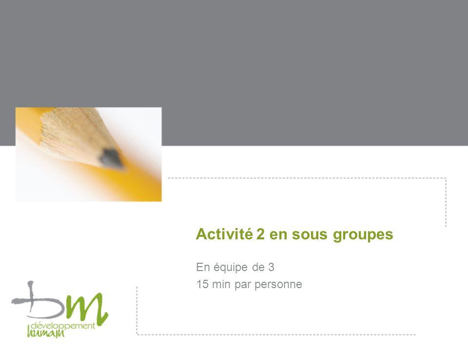Activité 2 en sous groupes