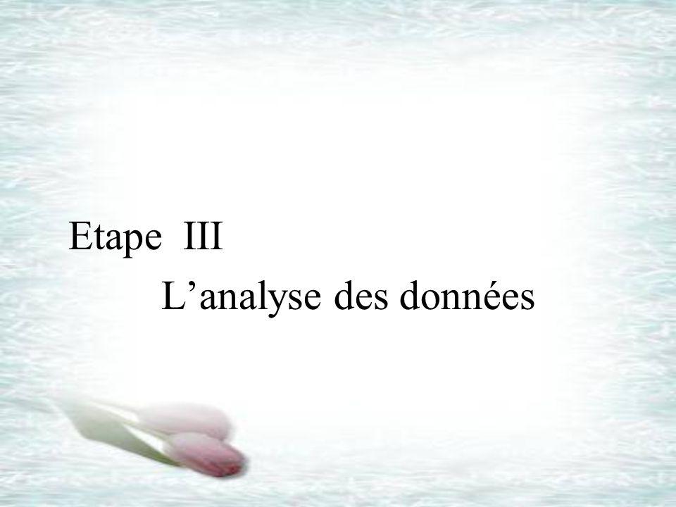Etape III L'analyse des données