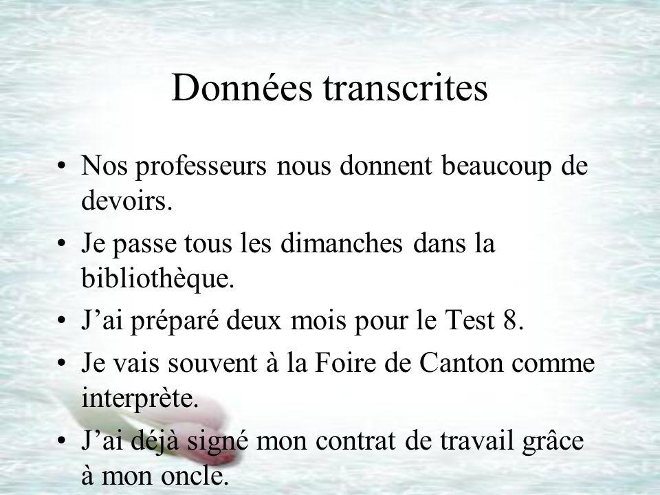 Données transcrites Nos professeurs nous donnent beaucoup de devoirs.