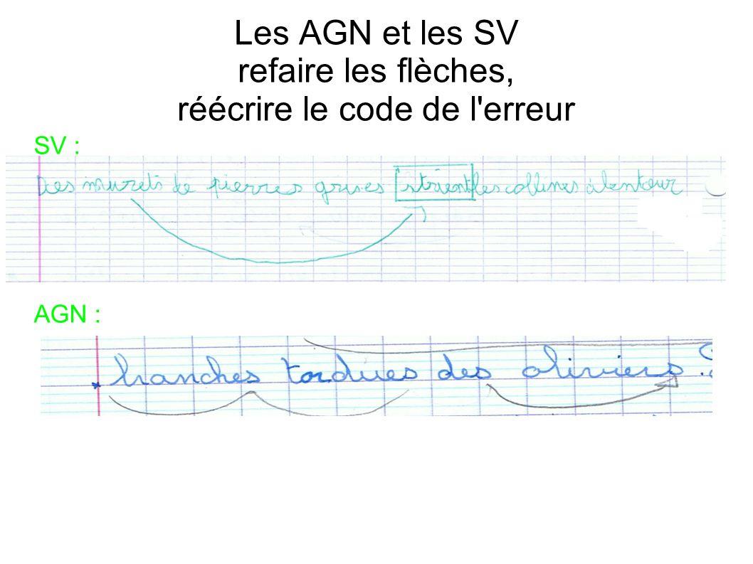 Les AGN et les SV refaire les flèches, réécrire le code de l erreur