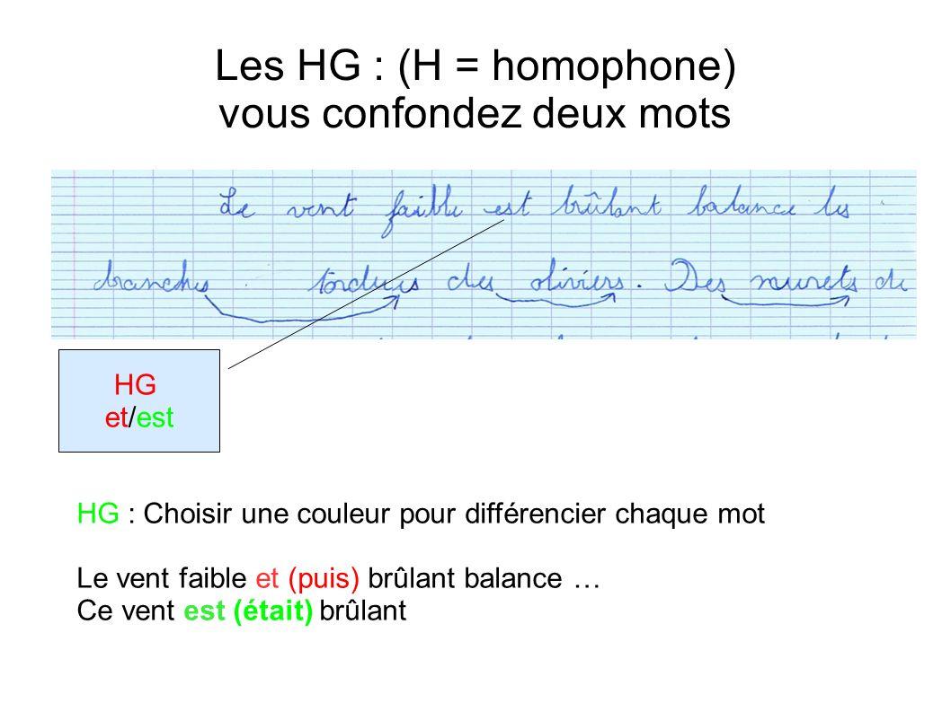 Les HG : (H = homophone) vous confondez deux mots