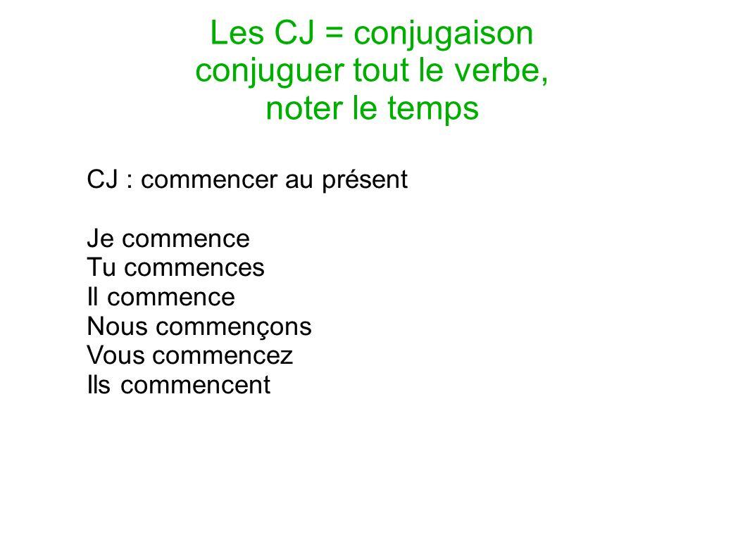 Les CJ = conjugaison conjuguer tout le verbe, noter le temps