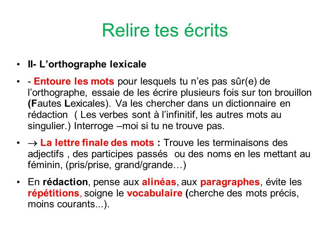 Relire tes écrits II- L'orthographe lexicale