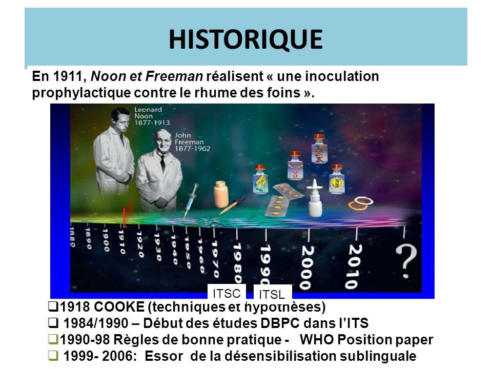 HISTORIQUE En 1911, Noon et Freeman réalisent « une inoculation prophylactique contre le rhume des foins ».