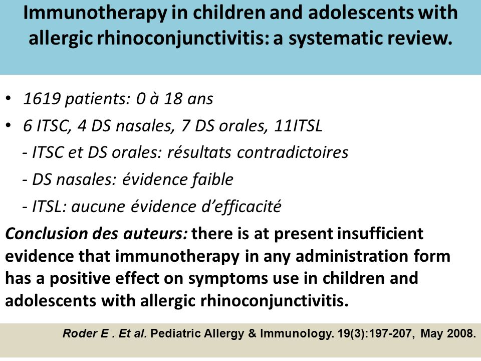 Immunotherapy in children and adolescents with allergic rhinoconjunctivitis: a systematic review.