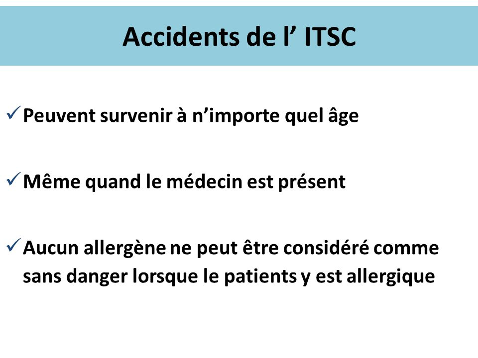 Accidents de l' ITSC Peuvent survenir à n'importe quel âge
