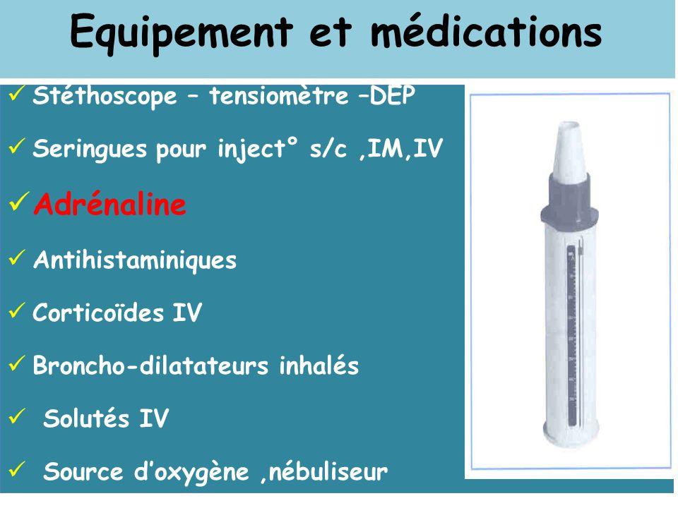 Equipement et médications