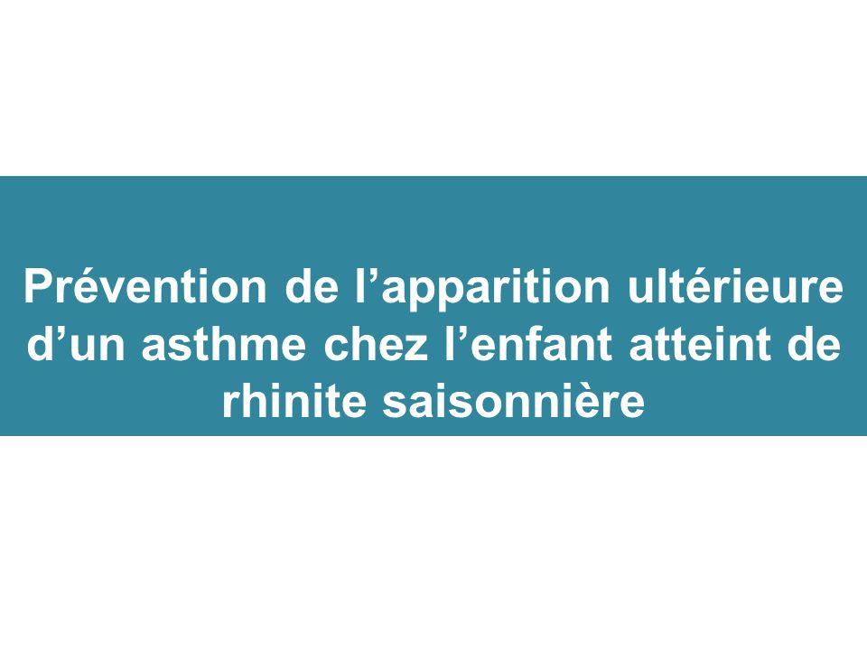 Prévention de l'apparition ultérieure d'un asthme chez l'enfant atteint de rhinite saisonnière