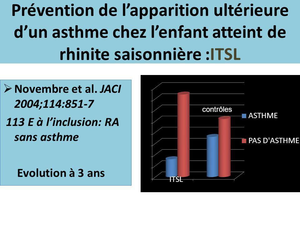 Prévention de l'apparition ultérieure d'un asthme chez l'enfant atteint de rhinite saisonnière :ITSL