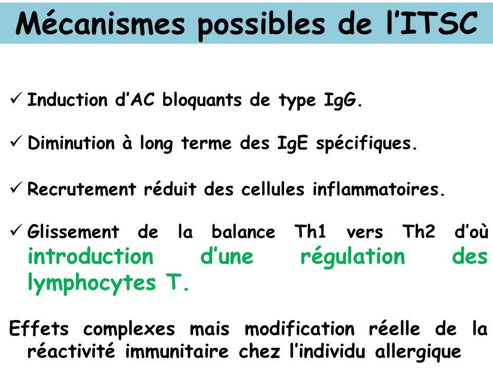 Mécanismes possibles de l'ITSC