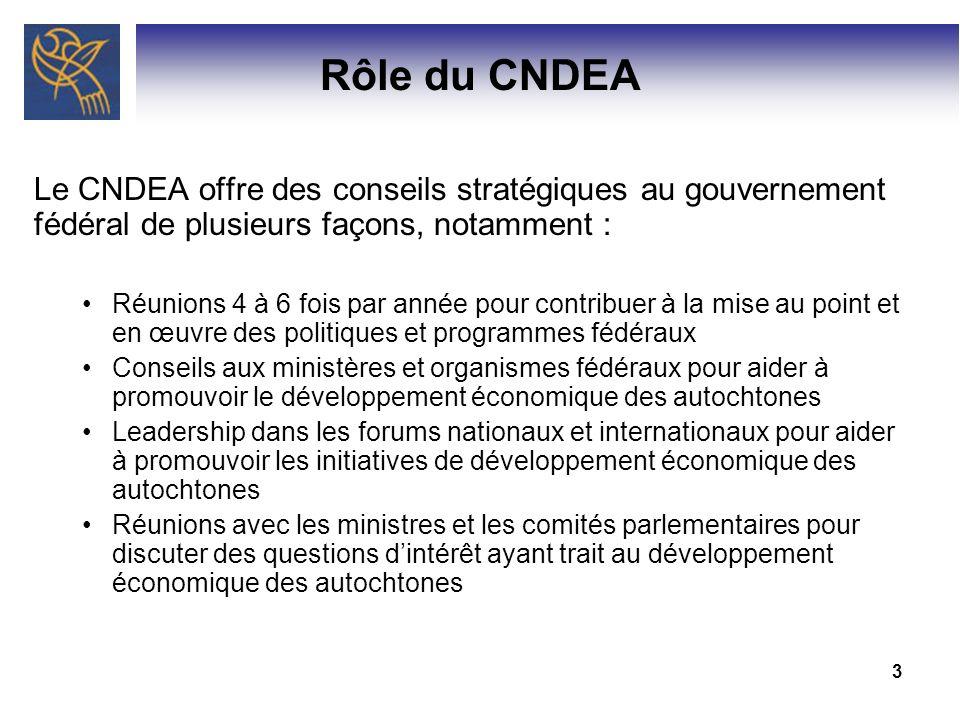 Rôle du CNDEA Le CNDEA offre des conseils stratégiques au gouvernement fédéral de plusieurs façons, notamment :