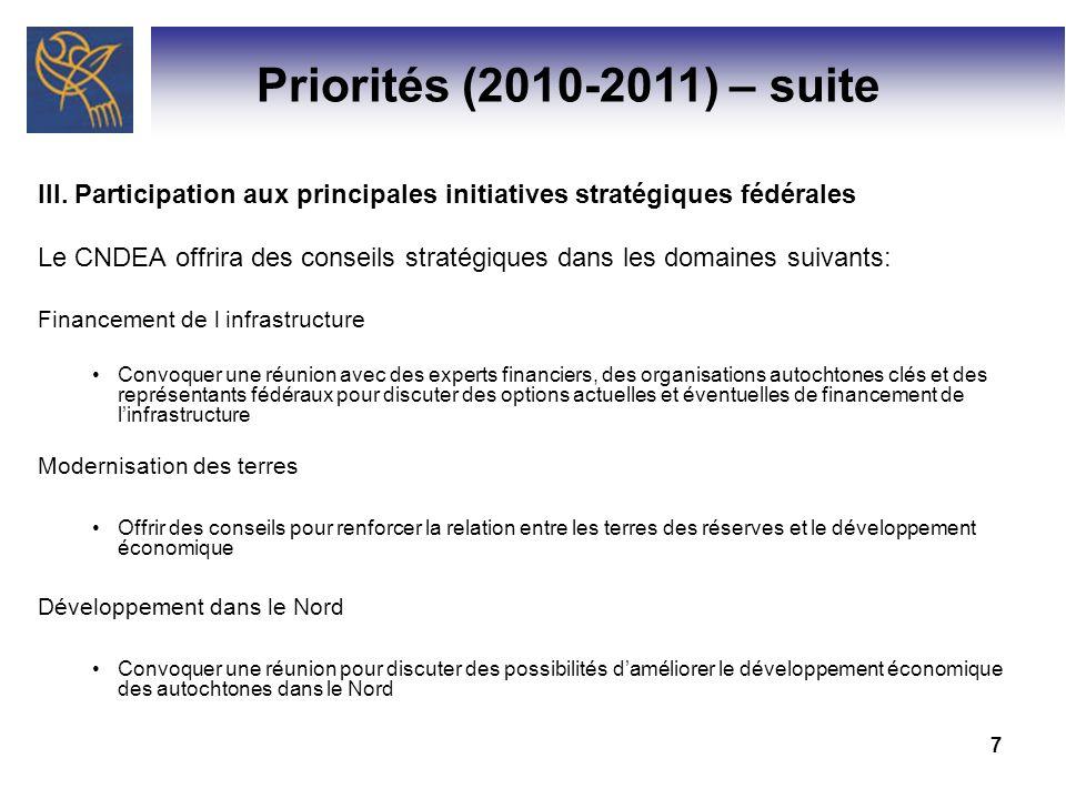 Priorités (2010-2011) – suite III. Participation aux principales initiatives stratégiques fédérales.